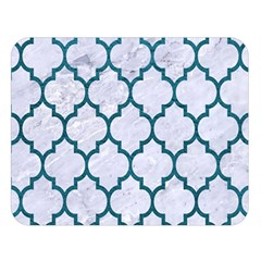 Tile1 White Marble & Teal Leather (r) Double Sided Flano Blanket (large)  by trendistuff
