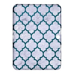 Tile1 White Marble & Teal Leather (r) Samsung Galaxy Tab 4 (10 1 ) Hardshell Case  by trendistuff