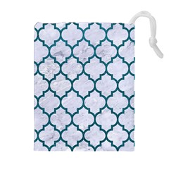 Tile1 White Marble & Teal Leather (r) Drawstring Pouches (extra Large) by trendistuff