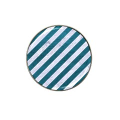 Stripes3 White Marble & Teal Leather (r) Hat Clip Ball Marker by trendistuff