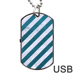 Stripes3 White Marble & Teal Leather (r) Dog Tag Usb Flash (two Sides) by trendistuff