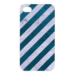 Stripes3 White Marble & Teal Leather (r) Apple Iphone 4/4s Hardshell Case by trendistuff