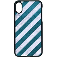 Stripes3 White Marble & Teal Leather (r) Apple Iphone X Seamless Case (black)