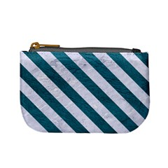 Stripes3 White Marble & Teal Leather Mini Coin Purses by trendistuff