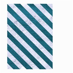 Stripes3 White Marble & Teal Leather Small Garden Flag (two Sides) by trendistuff