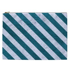 Stripes3 White Marble & Teal Leather Cosmetic Bag (xxl)  by trendistuff