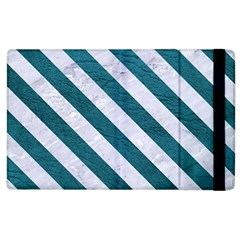 Stripes3 White Marble & Teal Leather Apple Ipad 3/4 Flip Case by trendistuff
