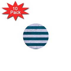 Stripes2white Marble & Teal Leather 1  Mini Buttons (10 Pack)  by trendistuff