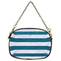 Stripes2white Marble & Teal Leather Chain Purses (one Side)  by trendistuff
