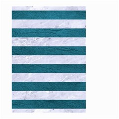 Stripes2white Marble & Teal Leather Small Garden Flag (two Sides) by trendistuff