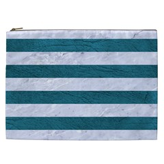 Stripes2white Marble & Teal Leather Cosmetic Bag (xxl)  by trendistuff
