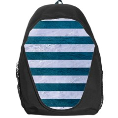 Stripes2white Marble & Teal Leather Backpack Bag by trendistuff