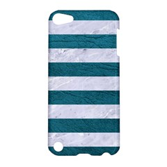 Stripes2white Marble & Teal Leather Apple Ipod Touch 5 Hardshell Case by trendistuff