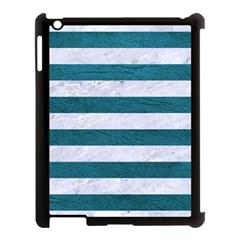 Stripes2white Marble & Teal Leather Apple Ipad 3/4 Case (black) by trendistuff