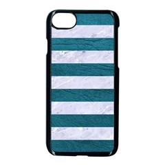 Stripes2white Marble & Teal Leather Apple Iphone 8 Seamless Case (black) by trendistuff