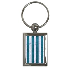 Stripes1 White Marble & Teal Leather Key Chains (rectangle)  by trendistuff