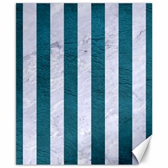 Stripes1 White Marble & Teal Leather Canvas 8  X 10  by trendistuff