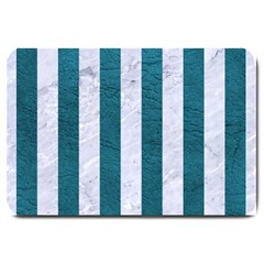Stripes1 White Marble & Teal Leather Large Doormat  by trendistuff