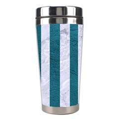 Stripes1 White Marble & Teal Leather Stainless Steel Travel Tumblers by trendistuff