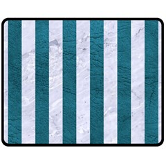Stripes1 White Marble & Teal Leather Double Sided Fleece Blanket (medium)  by trendistuff