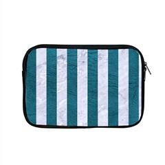 Stripes1 White Marble & Teal Leather Apple Macbook Pro 15  Zipper Case by trendistuff