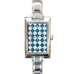 Square2 White Marble & Teal Leather Rectangle Italian Charm Watch
