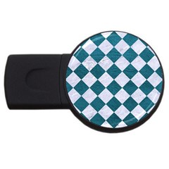 Square2 White Marble & Teal Leather Usb Flash Drive Round (4 Gb) by trendistuff