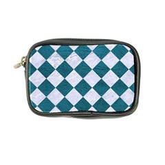 Square2 White Marble & Teal Leather Coin Purse by trendistuff