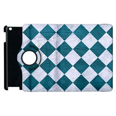 Square2 White Marble & Teal Leather Apple Ipad 2 Flip 360 Case by trendistuff