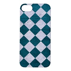 Square2 White Marble & Teal Leather Apple Iphone 5s/ Se Hardshell Case by trendistuff