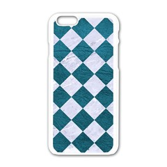 Square2 White Marble & Teal Leather Apple Iphone 6/6s White Enamel Case by trendistuff