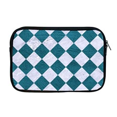 Square2 White Marble & Teal Leather Apple Macbook Pro 17  Zipper Case by trendistuff