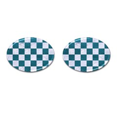 Square1 White Marble & Teal Leather Cufflinks (oval) by trendistuff