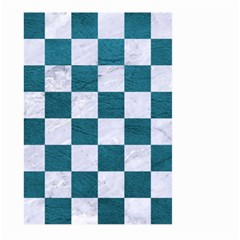 Square1 White Marble & Teal Leather Large Garden Flag (two Sides) by trendistuff