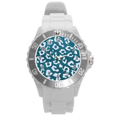 Skin5 White Marble & Teal Leather (r) Round Plastic Sport Watch (l) by trendistuff