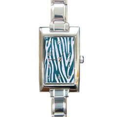 Skin4 White Marble & Teal Leather (r) Rectangle Italian Charm Watch by trendistuff