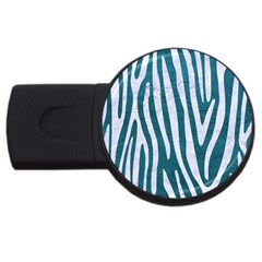 Skin4 White Marble & Teal Leather (r) Usb Flash Drive Round (2 Gb) by trendistuff