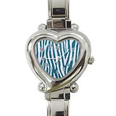 Skin4 White Marble & Teal Leather (r) Heart Italian Charm Watch by trendistuff