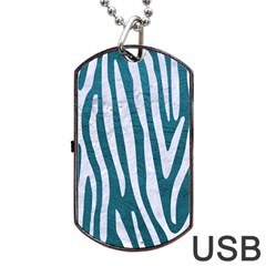 Skin4 White Marble & Teal Leather (r) Dog Tag Usb Flash (two Sides) by trendistuff