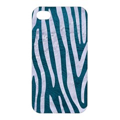 Skin4 White Marble & Teal Leather (r) Apple Iphone 4/4s Hardshell Case by trendistuff