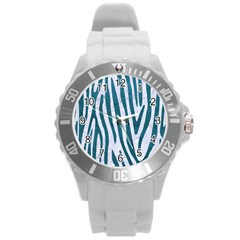 Skin4 White Marble & Teal Leather Round Plastic Sport Watch (l) by trendistuff
