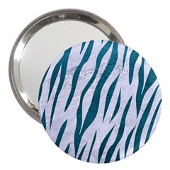Skin3 White Marble & Teal Leather (r) 3  Handbag Mirrors by trendistuff