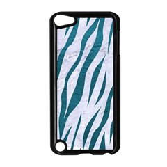 Skin3 White Marble & Teal Leather (r) Apple Ipod Touch 5 Case (black) by trendistuff