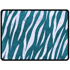 Skin3 White Marble & Teal Leather Fleece Blanket (large)  by trendistuff