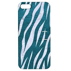 Skin3 White Marble & Teal Leather Apple Iphone 5 Hardshell Case With Stand by trendistuff