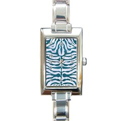 Skin2 White Marble & Teal Leather (r) Rectangle Italian Charm Watch by trendistuff