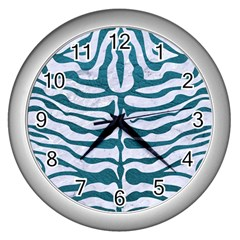 Skin2 White Marble & Teal Leather (r) Wall Clocks (silver)  by trendistuff