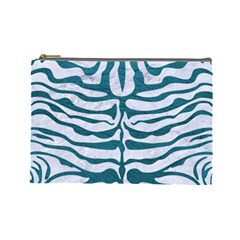 Skin2 White Marble & Teal Leather (r) Cosmetic Bag (large)  by trendistuff