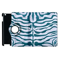 Skin2 White Marble & Teal Leather (r) Apple Ipad 2 Flip 360 Case by trendistuff