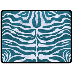 Skin2 White Marble & Teal Leather Double Sided Fleece Blanket (large)  by trendistuff